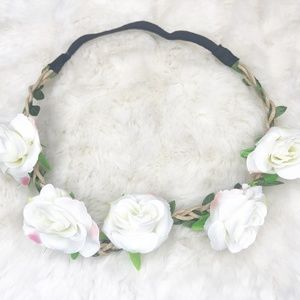 Boho Flower Crown/ Headband (new) White